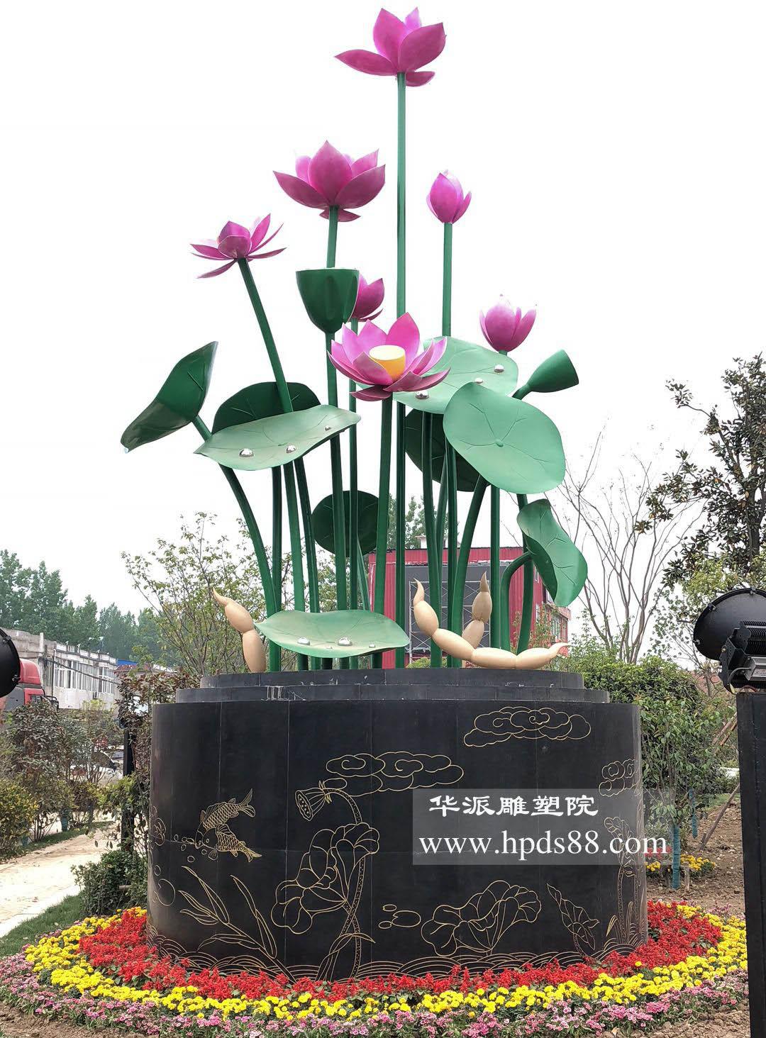 """阜南县""""莲花小镇""""美丽乡村雕塑——莲花文化"""