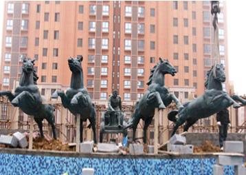 安徽华派雕塑设计制作房地产雕塑《阿波罗战车》