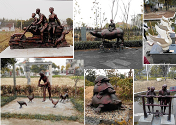 上海嘉定——房地产多组民俗雕塑、喷泉